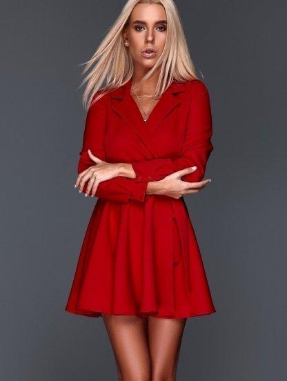 Короткое красное мини платье с запахом и с пышной юбкой, фото 1