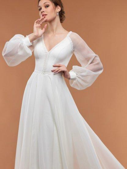 Белое свадебное платье с юбкой из фатина и кружевными рукавами, фото 1