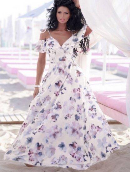 Длинное летнее светлое платье сарафан на бретелях на запах, фото 1