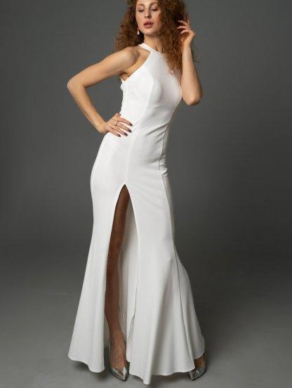 Молочное вечернее платье в пол с открытыми плечами и разрезом, фото 1