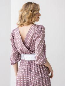 Шелковое платье с поясом в горошек