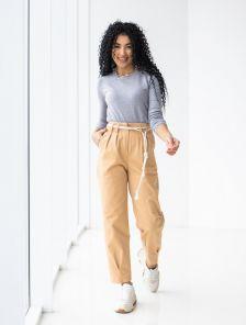 Светлые котоновые женские брюки с высокой талией