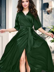 Зеленое вечернее длинное палатье на запах с коротким рукавом