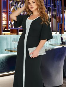 Нарядное черное длинное платье с серебристой отделкой