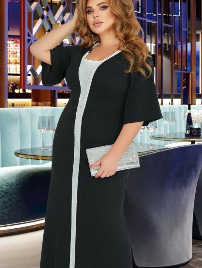 Вечернее нарядное черное платье в пол на рукав 3/4, фото 1