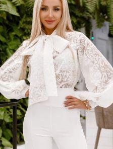 Белая женская нарядная блуза с рукавами-фонариками