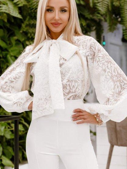Белая женская нарядная блуза с рукавами-фонариками, фото 1