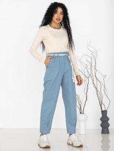 Голубые котоновые женские брюки с высокой талией