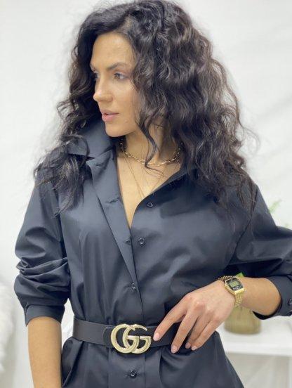 Удлиненная черная рубашка свободного кроя, фото 1