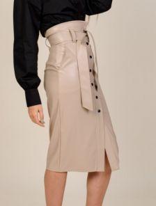 Женская кожаная юбка- карандаш длины миди с карманами и поясом