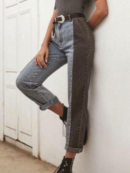 Женские джинсы из синей и черной ткани, фото 1