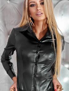 Черный боди-рубашка с лаковым напылением