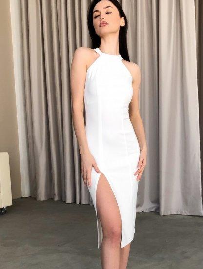 Белое облегающее платье с открытой спиной и разрезом на ноге, фото 1