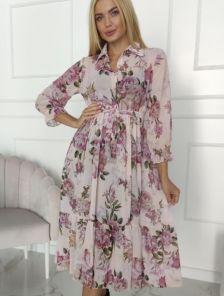 Весеннее светлое платье с цветочным принтом