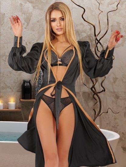 Приталенный халат черного цвета без запаха, фото 1