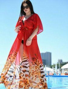 Пляжная летняя шифоновая красная туника