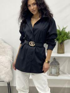 Удлиненная черная рубашка свободного кроя