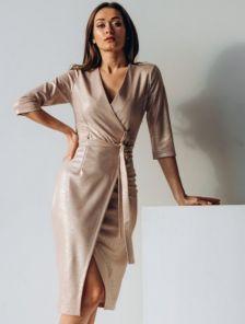 Вечернее золотистое коктейльное платье с имитацией запаха