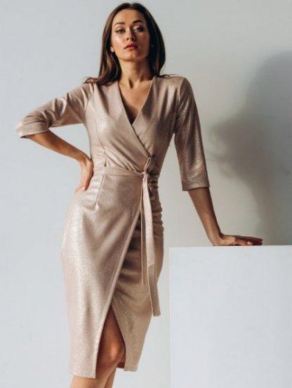 Вечернее золотистое коктейльное платье с имитацией запаха, фото 1