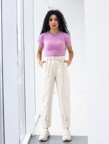 Белые зауженные женские брюки с высокой талией