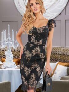 Черное нарядное гипюровое платье на лето