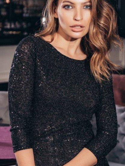 Короткое черное нарядное платье в пайетку с рукавом 3/4, фото 1