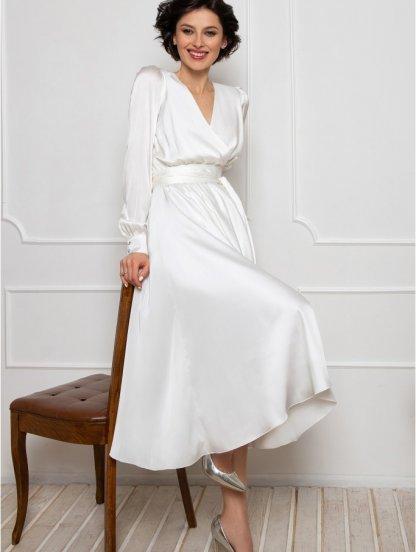 Нарядное белое шелковое платье до косточки на длинный рукав, фото 1