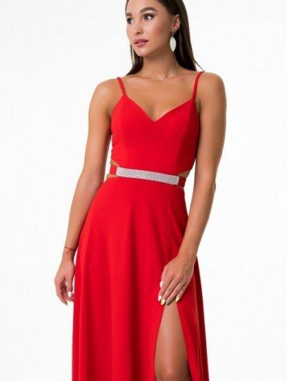 Красное нарядное легкое вечернее платье на тонких бретелях, фото 1