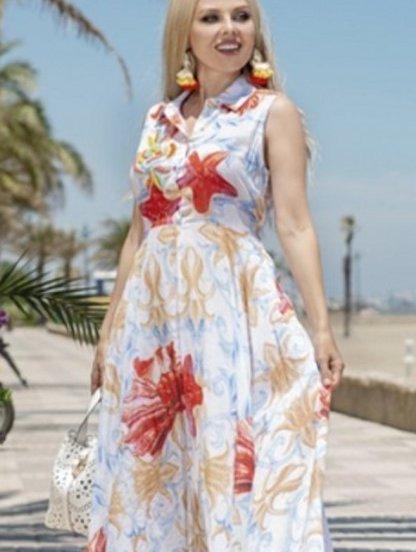 Хлопковое летнее нарядное платье с морским принтом и вышивкой бисером, фото 1