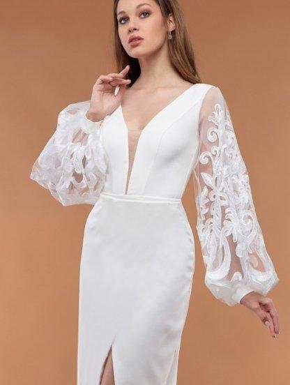 Белое нарядное вечернее платье с объемными кружевными рукавами, фото 1