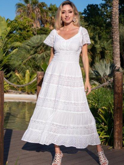 Хлопковое белое летнее платье с цветочным кружевом, фото 1