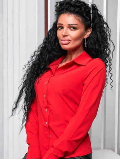 Красная женская рубашка на пуговицах, фото 1