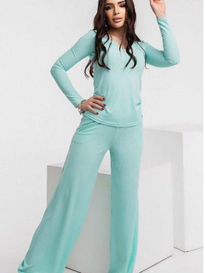Стильный спортивный костюм мятного цвета для женщин, фото 1