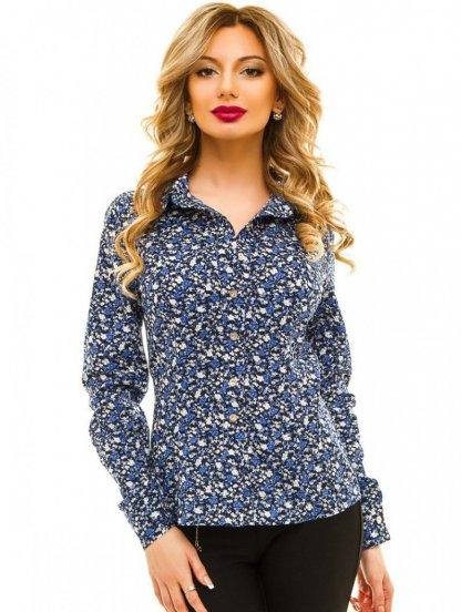 Синяя рубашка в цветы с рукавами, фото 1