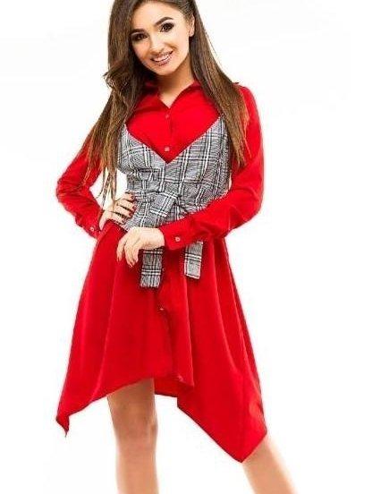 Летнее короткое красное платье рубашка с асимметрией на длинный рукав, фото 1