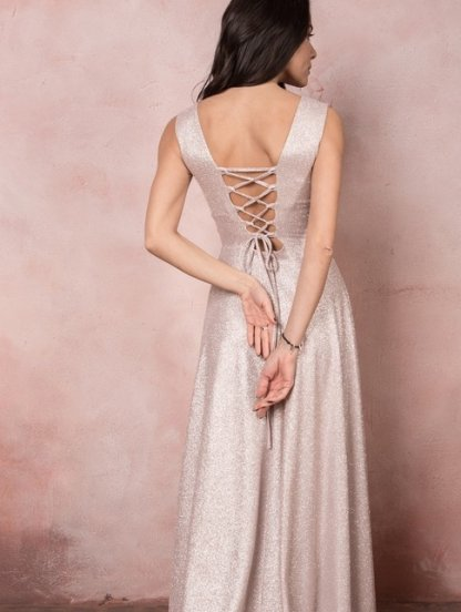 Блестящее вечернее платье нежно-розового цвета, фото 1
