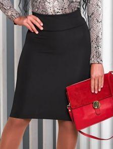 Офисная юбка карандаш в чорном цвете длины миди