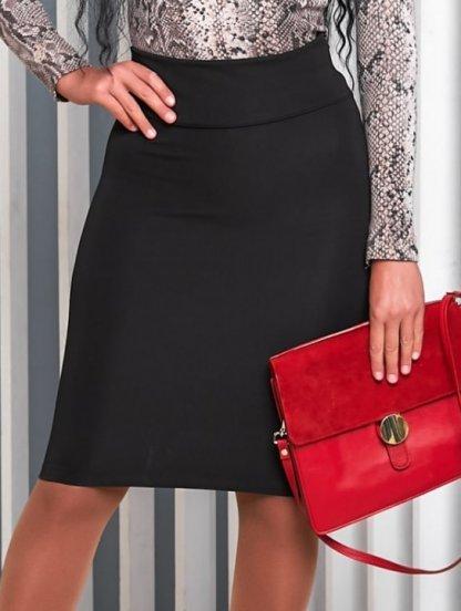 Офисная юбка карандаш в чорном цвете длины миди, фото 1