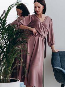 Короткое розовое нарядное платье под пояс