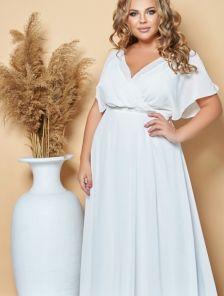 Нарядное шифоновое белое платье на лето