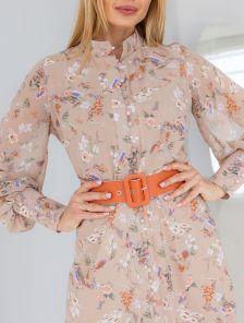 Легкое шифоновое бежевое платье с цветочным принтом