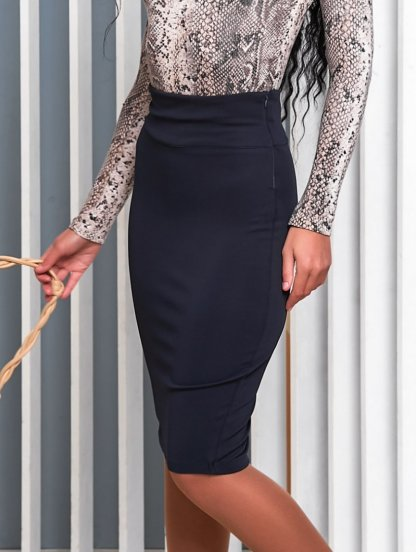 Офисная юбка карандаш в синем цвете длины миди, фото 1