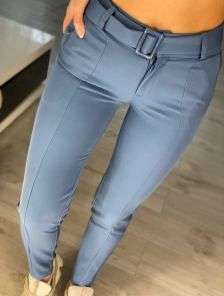 Синие женские брюки с высокой посадкой и ремнем