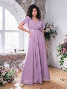 Нарядное шифоновое сиреневое платье большого размера в пол