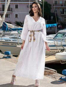 Платье с перфорацией из лёгкого высококачественного хлопка длинное
