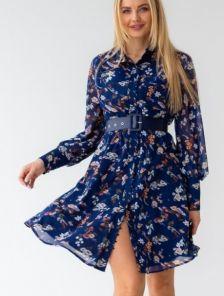 Легкое шифоновое синее платье с цветочным принтом