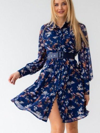 Легкое шифоновое синее платье с цветочным принтом, фото 1