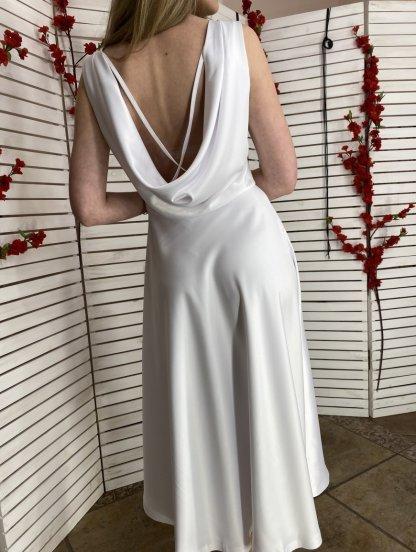 Атласное платье белого цвета, фото 1