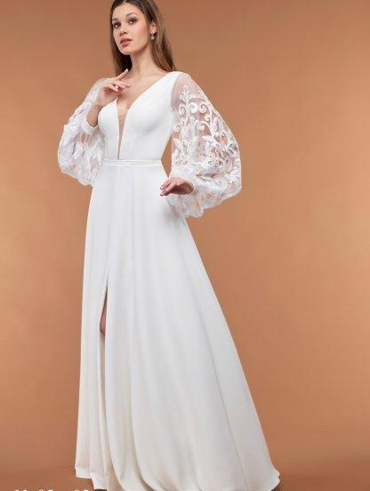 Белое свадебное длинное платье с кружевными рукавами, фото 1