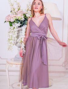 Нарядное лиловое вечернее платье с воздушной фатиновой юбкой